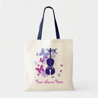 Tote del alboroto del violín con su propio nombre bolsa tela barata