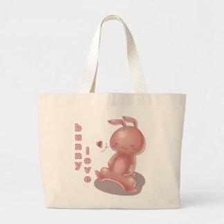Tote del amor del conejito bolsa lienzo