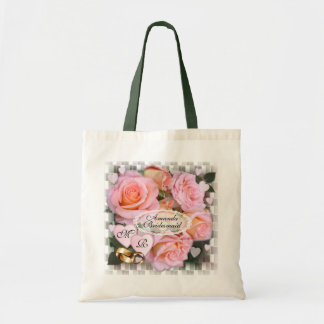 Tote del boda del ~ de los rosas y de los corazone bolsa tela barata