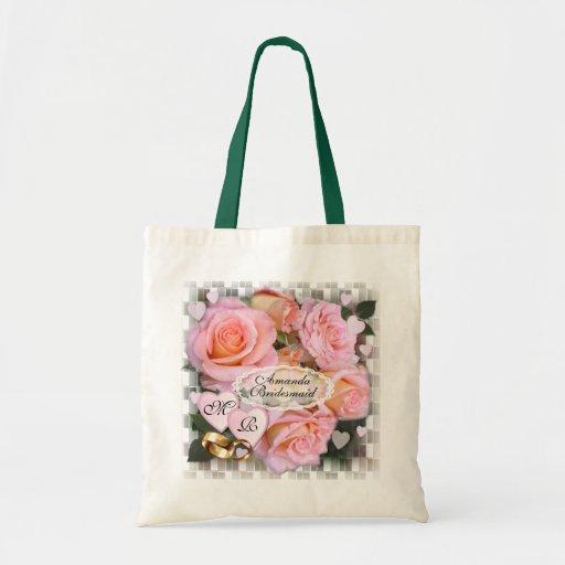 Tote del boda del ~ de los rosas y de los corazone bolsas de mano