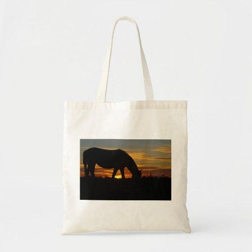 Tote del caballo de la puesta del sol bolsa de mano