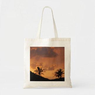 Tote del Caribe de la puesta del sol Bolsa Lienzo