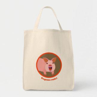 Tote del cerdo del vegano bolsa tela para la compra