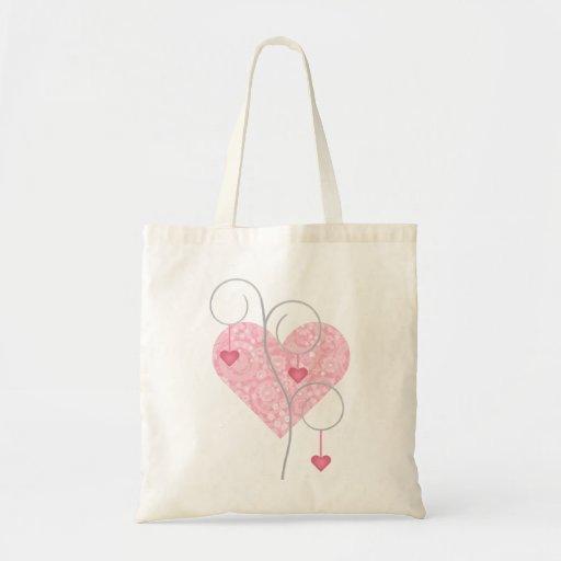 Tote del corazón de la flor y del árbol del corazó bolsa tela barata