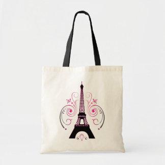 Tote del diseño gráfico de París de la torre Eiffe Bolsa Tela Barata
