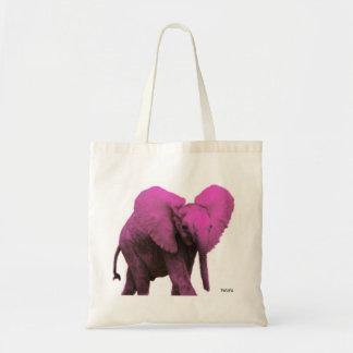 Tote del elefante rosado bolsa tela barata