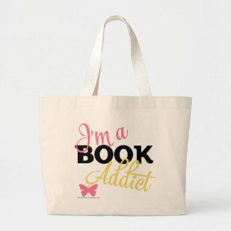 Tote del jumbo del adicto al libro bolsa tela grande