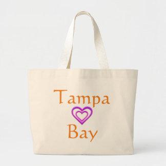 Tote del jumbo del corazón de Tampa Bay Bolsa De Tela Grande