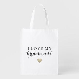 Tote del mercado - amor de la dama de honor bolsas para la compra