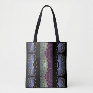 Tote del modelo de la moda - púrpura, verde, azul, bolsa de tela