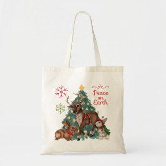 Tote del navidad con los animales del arbolado bolsa tela barata