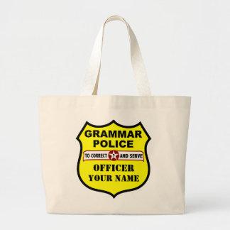 Tote del personalizable de la policía de la gramát bolsa tela grande