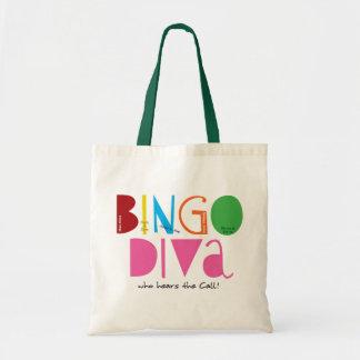 Tote del presupuesto de la diva del bingo bolsa tela barata