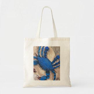 """Tote del presupuesto del cangrejo azul del """"día bolsa tela barata"""