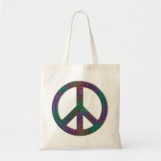 Tote del presupuesto del signo de la paz del bolsa tela barata