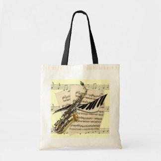 Tote del saxofón y de la música del piano bolsa de mano