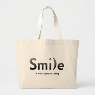 Tote del texto de la sonrisa ASCII Bolsa Tela Grande