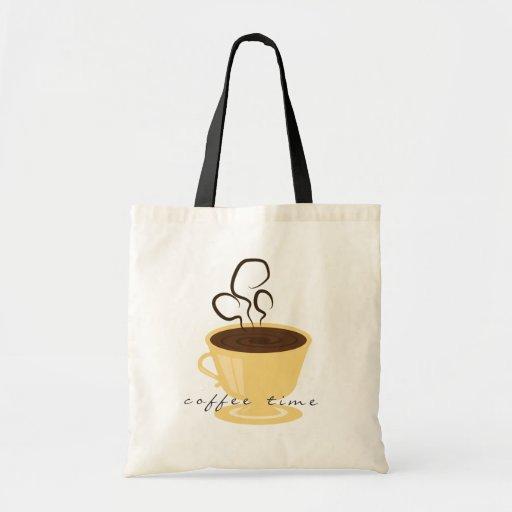 Tote del tiempo del café bolsa tela barata
