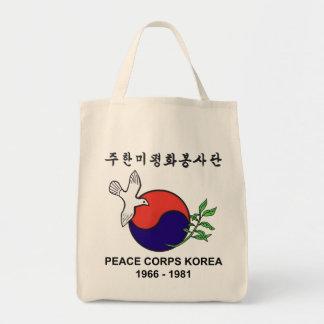 Tote del ultramarinos de Corea del cuerpo de paz Bolsa Tela Para La Compra
