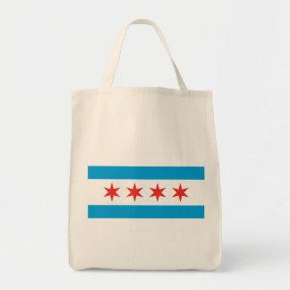 Tote del ultramarinos de la bandera de Chicago Bolsa Tela Para La Compra