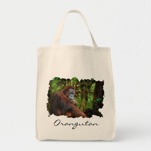 Tote del ultramarinos de la fauna del orangután y  bolsas lienzo