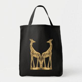 Tote del ultramarinos de la jirafa del oro bolsa tela para la compra