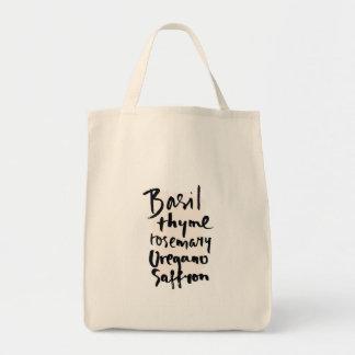 Tote del ultramarinos de la tipografía del cepillo bolsa tela para la compra