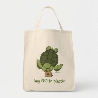 Tote del ultramarinos de la tortuga bolsa tela para la compra