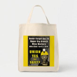 Tote del ultramarinos de los trabajadores de mina bolsa tela para la compra