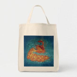 Tote del ultramarinos: Pintura de seda del pavo re Bolsa Tela Para La Compra
