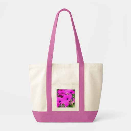 "Tote enorme de las ""petunias rosadas"" bolsa tela impulso"