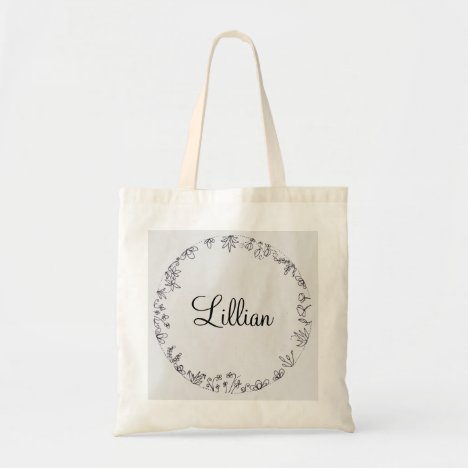 Tote featuring flower circle illustration and name