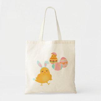 Tote feliz del polluelo del conejito de pascua bolsa tela barata