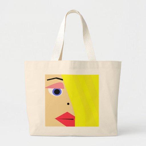 Tote femenino abstracto de la cara del dibujo anim bolsa tela grande