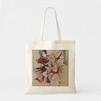 Tote femenino del arte del samurai del vintage her bolsa tela barata