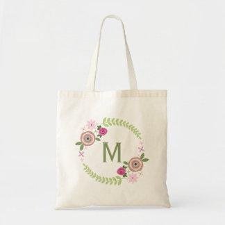 Tote floral del monograma de la guirnalda bolsa tela barata