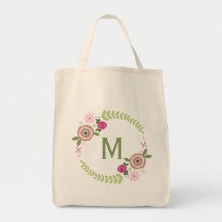 Tote floral del ultramarinos del monograma de la g bolsa tela para la compra