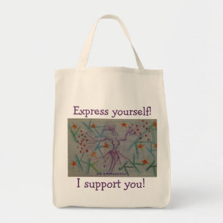 Tote for anyone who supports art and expression grocery tote bag