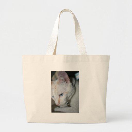 Tote, gato blanco bolsa de mano