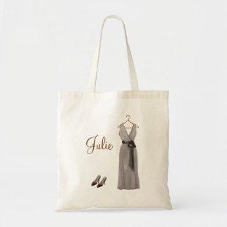 Tote gris personalizado de la dama de honor bolsa de mano