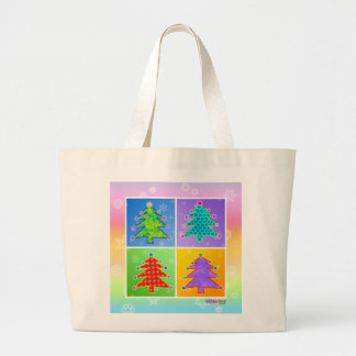Tote, Grocery Bag - Pop Art Christmas Trees