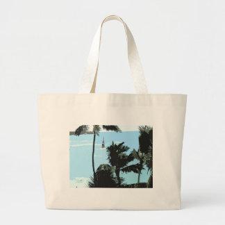 Tote hawaiano de la playa bolsa tela grande