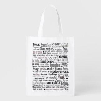 tote inspirado de las palabras bolsas reutilizables
