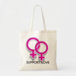 Tote lesbiano del amor de los símbolos femeninos d bolsa tela barata