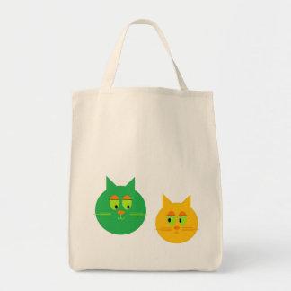 Tote lindo del ultramarinos de los gatos bolsa tela para la compra