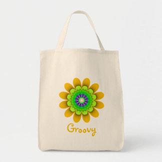 Tote maravilloso del ultramarinos del flower power bolsa tela para la compra