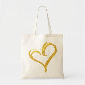 Tote moderno del boda del corazón del amor de la bolsa tela barata