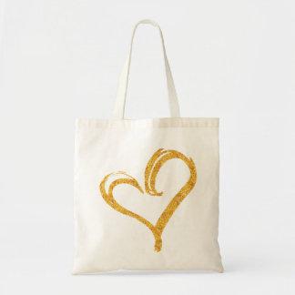 Tote moderno del boda del corazón del amor del bolsa tela barata