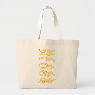 Tote náutico de la cuerda del oro bolsa de tela grande