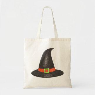 Tote negro/anaranjado de Halloween de la bruja de Bolsa Tela Barata